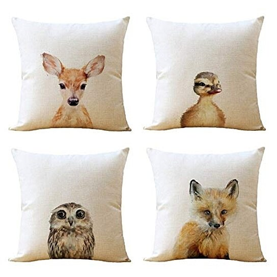 Animals Watercolor Painting Deer Bird Pillow Case Throw Cushion Cover Home Decor