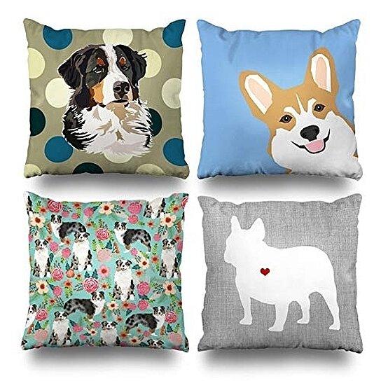 Buy Set Of 4 Pillow Cases Bernese Mountain Dog Peeking Corgi Cute Australian Shepherds Florals French Pillowcase Cushion Cover Case Home Decor By Wallis Flora On Dot Bo