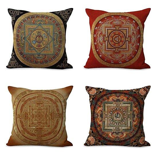 set of 4 pillow cases tibetan mandala sacred geometry retro brown exotic pillowcase cushion cover case home decor