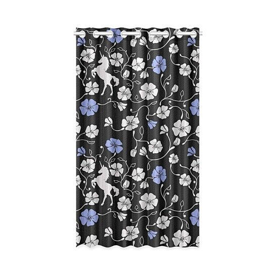 Buy Unicorn Floral Blackout Window Curtain Drapes Bedroom Living Room Kitchen Curtains 52x84 Inch By Wallis Flora On Dot Bo