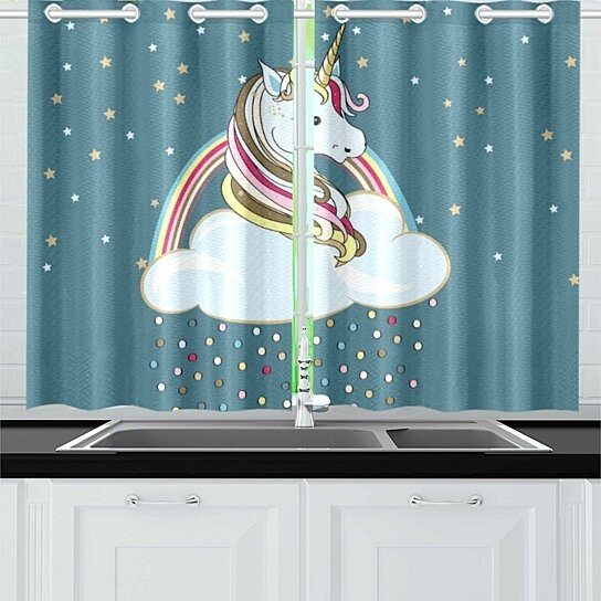 Buy Unicorn Window Curtain Kitchen Curtains Window Treatments 26x39 Inch Set Of 2 By Wallis Flora On Dot Bo