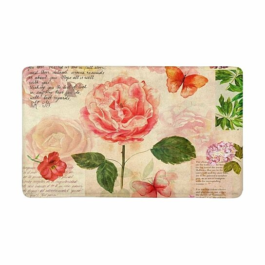 Buy Vintage Watercolor Roses Flowers With Butterflies On Old Postal Stamps Doormat Rug Home Decor Floor Mat Bath Mat 30x18 Inch By Wallis Flora On Opensky
