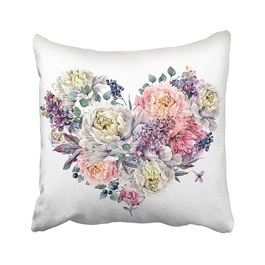 Buy Watercolor Heart Shaped Floral Made Of Peonies Lilac Silver Eucalyptus And Privet Berries Pillowcase Pillow Cover 18x18 Inches By Wallis Flora On Dot Bo