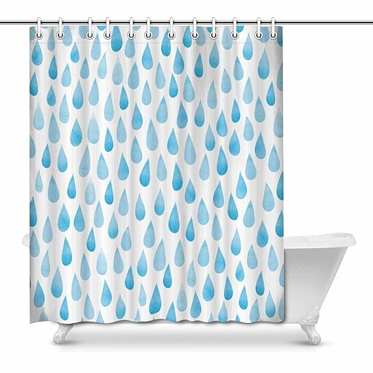 Buy Watercolor Rain Drops Stylized Blue Raindrops House Decor Shower Curtain For Bathroom Decorative Fabric Bath Curtain Set 66x72 Inch By Wallis Flora On Dot Bo