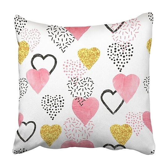 Buy White Glitter Glittering Gold And Watercolor Pink Hearts Pattern Valentines Day Vintage Pillowcase 16x16 Inch By Wallis Flora On Dot Bo