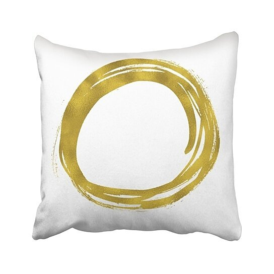 Buy Yellow Abstract Gold Paint Hand Drawn Circle Round Messy Artistic Brilliant Brush Color Pillowcase Throw Pillow Cover Case 16x16 Inches By Wallis Flora On Dot Bo