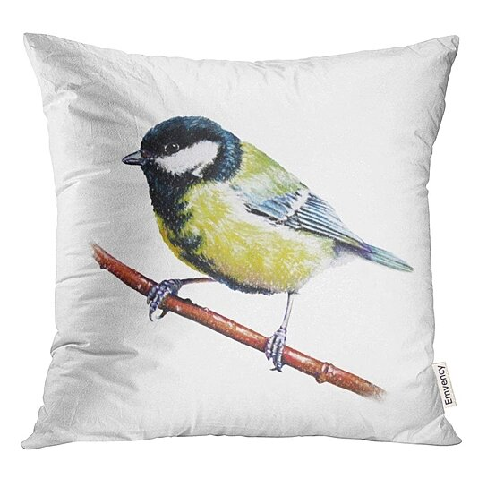 Buy Yellow Bird Pastel Little Tit Chickadee Beauty Black Branch Character Throw Pillowcase Cushion Case Cover By Wallis Flora On Dot Bo