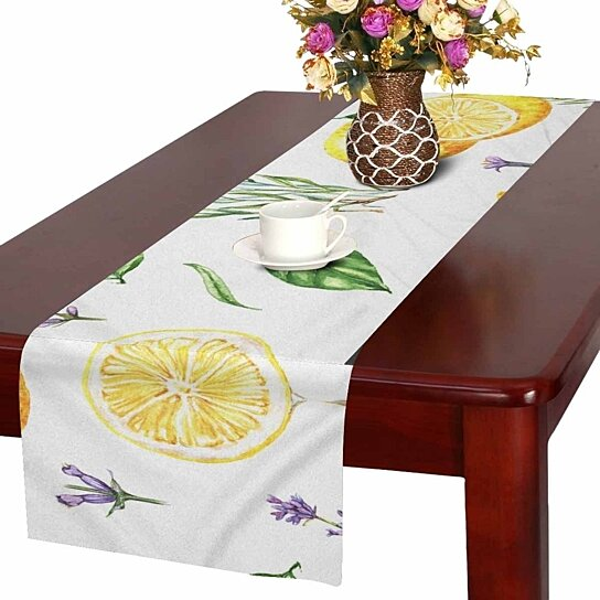 Buy Yellow Lemons And Lavender Flowers Table Runner For Wedding Party Decoration Kitchen Decor Decoration 16x72 Inch By Wallis Flora On Dot Bo