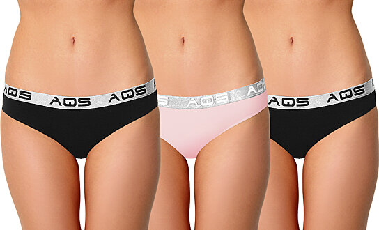 e0b1a488a Trending product! This item has been added to cart 11 times in the last 24  hours. AQS Ladies Black Pink Cotton Bikini Underwear - 3 Pack