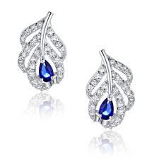 Peacock Feather W. Blue Teardrop and Clear Round Cubic Zirconia Stud Earrings
