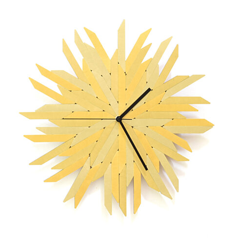 "Haystack gold - 16"" Organic Golden Wall Clock Made of Plywood"