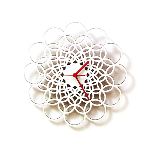 "Rings White - 11½"" / 16"" / 23½"" Unique Contemporary Handmade Wooden Wall Clock Made of Natural Materials"