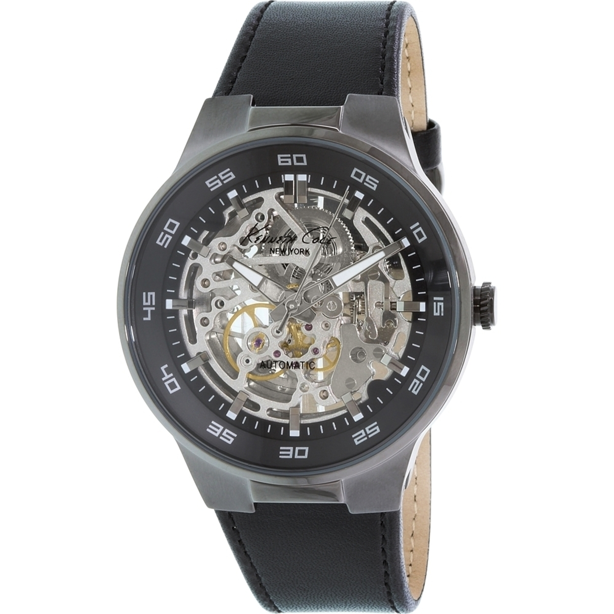 s watches kenneth cole s kc8048 black leather
