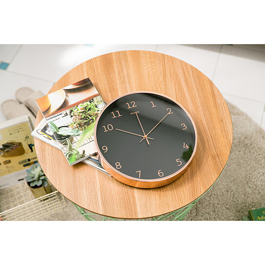 "Buy Rose Gold Frame Modern 12"" Silent Non-Ticking Wall Clock by ..."
