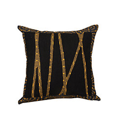 Tribal Chic Organic Hand-Embroidered Pillow, Black/Orange