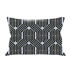 Tribal Chic Organic Hand-Embroidered Pillow, Purple/Teal