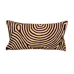 Tribal Chic Organic Hand-Embroidered Pillow, Yellow/Brown