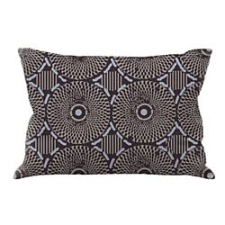 Tribal Hand-Embroidered Pillow, Organic Insert Lumbar Black/Blue Triangles