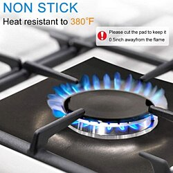 4-Pack Reusable Gas Range Protectors - Silver/Grey/Black Gas Stove Burner Protector Liner Cover Clean Mat Pad