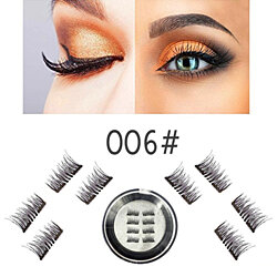 8 PCS Dual Magnetic Eyelashes, 3D Reusable Eyelashes with Applicator