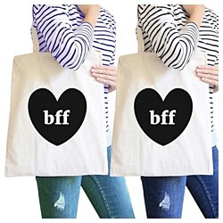 Bff Hearts BFF Matching Natural Canvas Bags