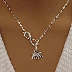 Beautiful Infinity and Elephant Lariat Necklace