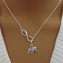 Sterling Silver Elephant and Infinity Lariat Necklace