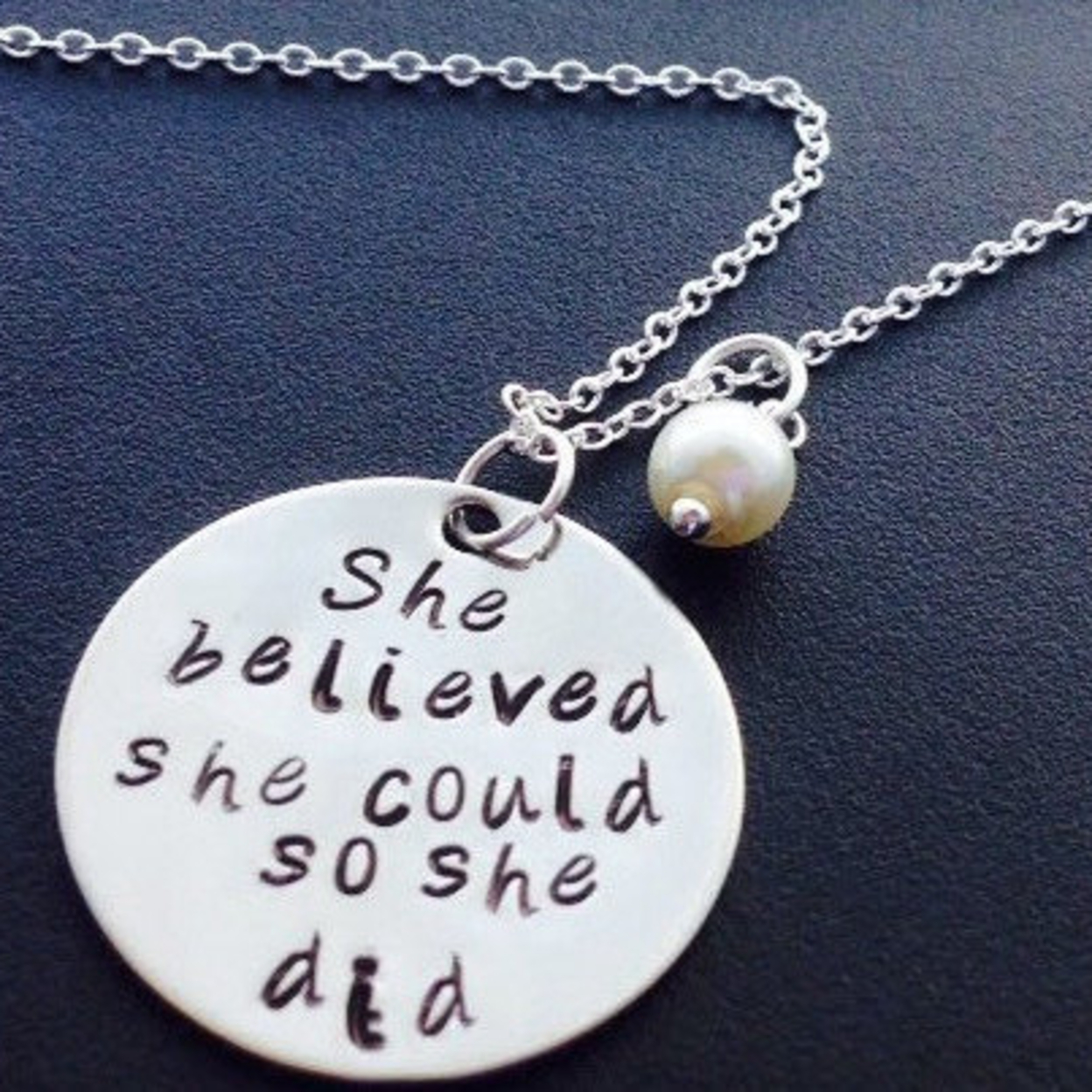 "Best selleing Necklace ""She Believed She Could So She DID \"" Hand stamped necklace - Great for best friends-bead of your choice - With Birthstone, Jan 56d1c960a3771c23078b7b6f"