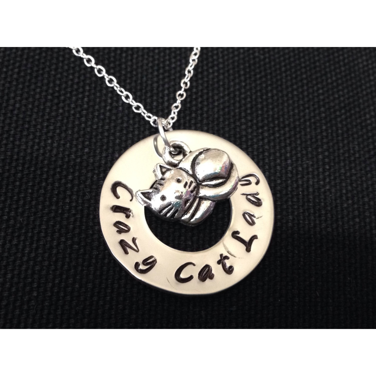 Crazy Cat Lady - Adopt Pet - Animal Rescue - Pet Adoption- Kitty Cat - Handstamped Jewelry - Birthday Gift - Love Cats 55099bb17aaaaa51268b4627