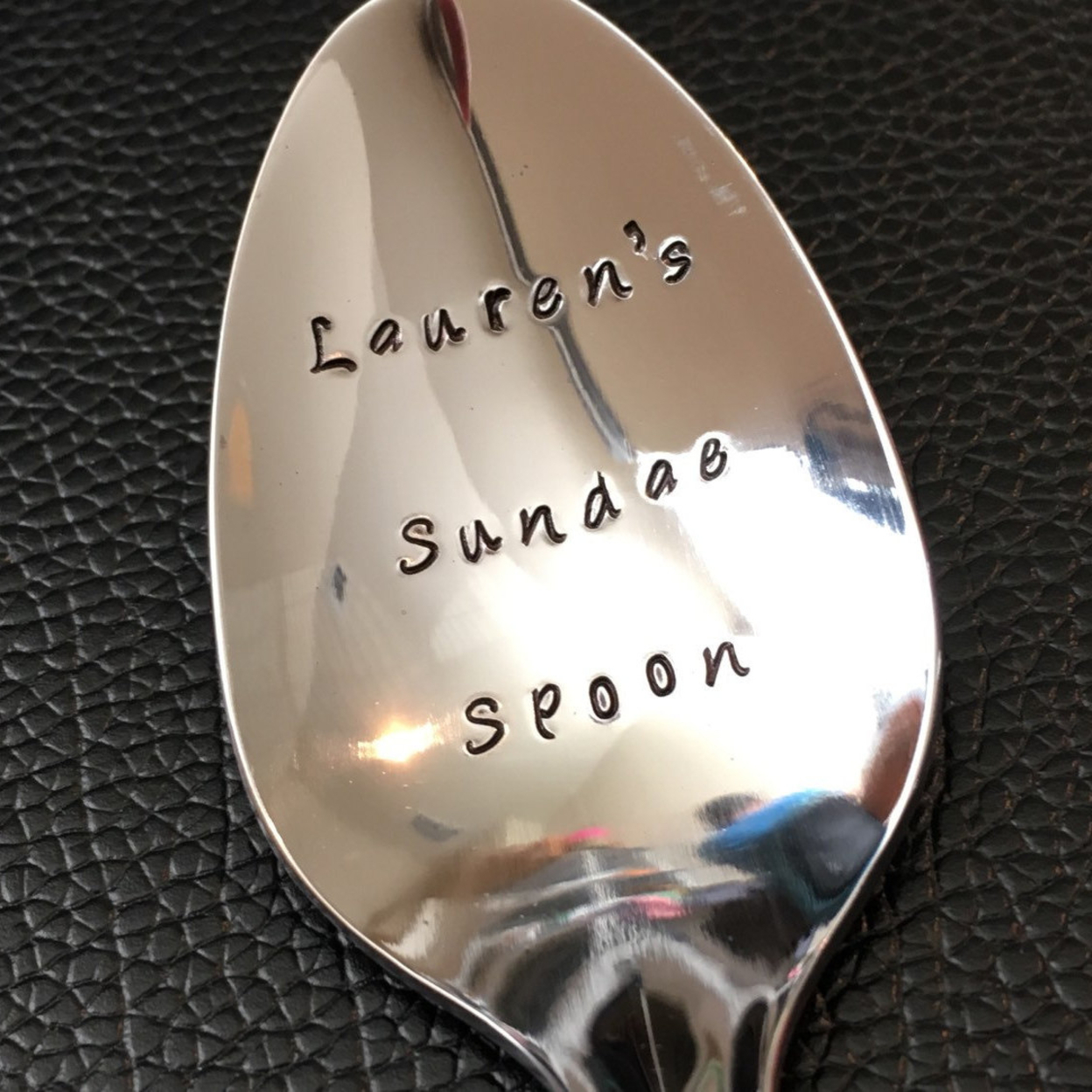 Custom Sundae Spoon-hand Stamped Spoon -personalized Spoon -message Of Choice -gift For Best Friend, Gift For Grandpa, Gift For Mom Teaspoon