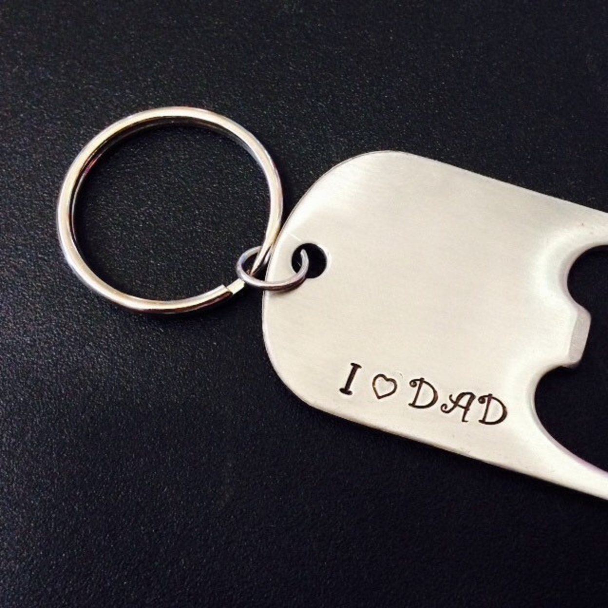 Gift For Dad Hand Stamped Key ChainGreat For Fathers Day I Love Dad Bottle Opener Key Chain Key Ring Hand Stamped With Heart