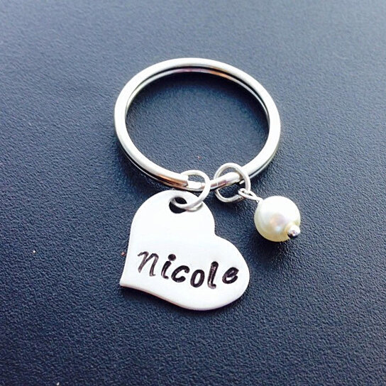 Buy hand stamped heart shape keychain keychain for Engravable gifts for her