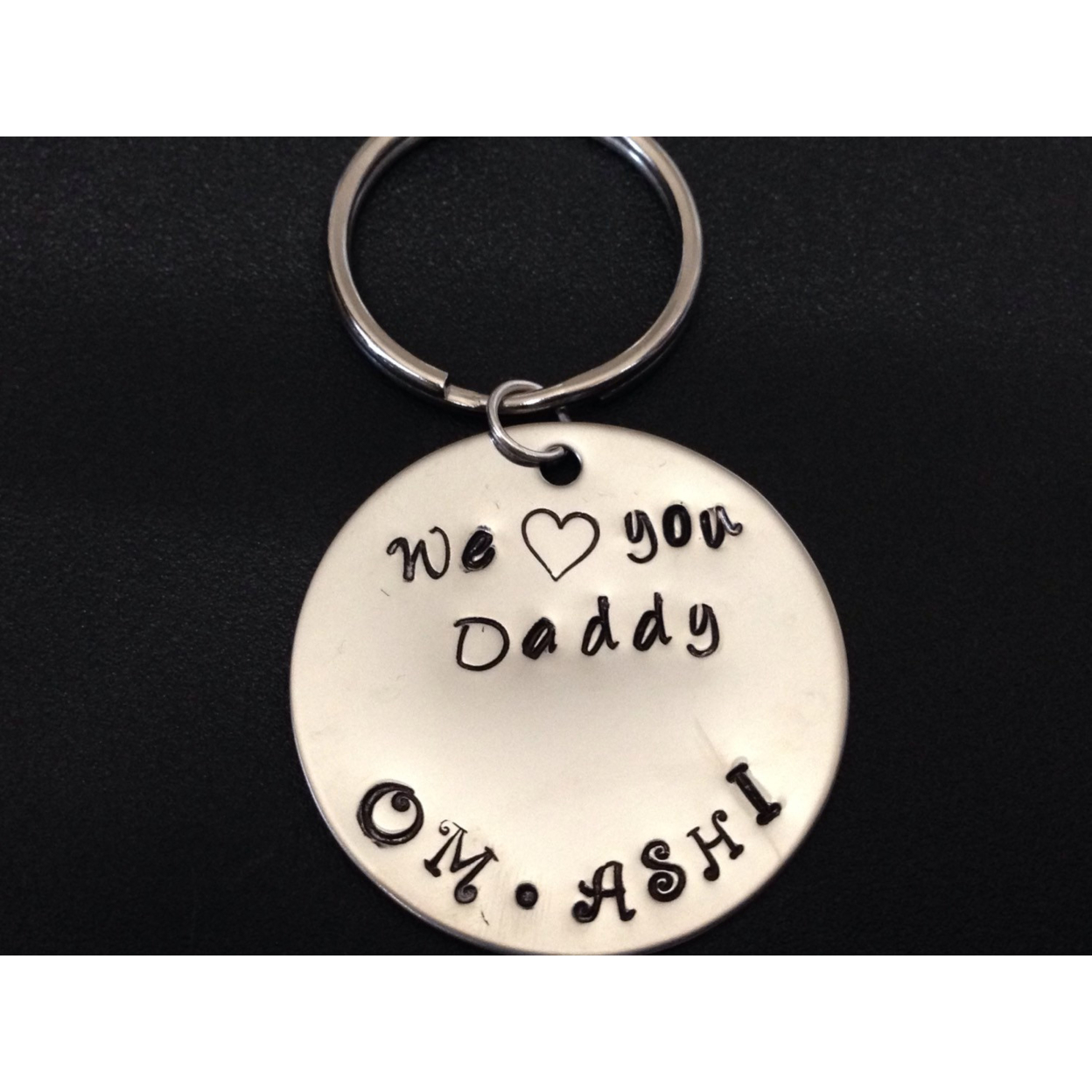 Personalized Hand Stamped Key Chain, We Love You Daddy Personalized With Childrens Names Hand Stamped Key ChainGreat For Fathers Day