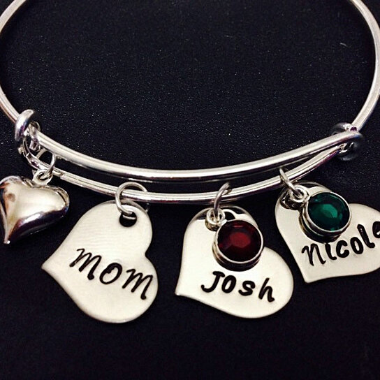 Buy Personalized Names Bangle Bracelet Mom Hand Stamped Jewelry