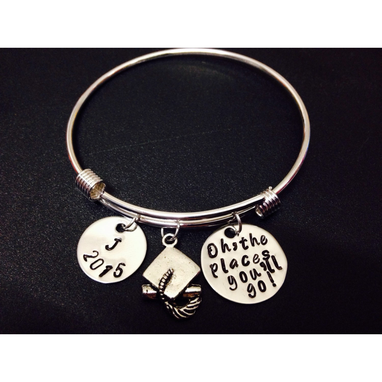 Personalized Oh the Places You'll Go Graduation Bracelet - Hand Stamped Jewelry - Senior Graduation Gift 2015 -Grad Bangle - stainless steel 555567457aaaaa4f0e8b7320