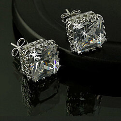 Royal Princess Cut Simulated White Sapphire Stud Earrings