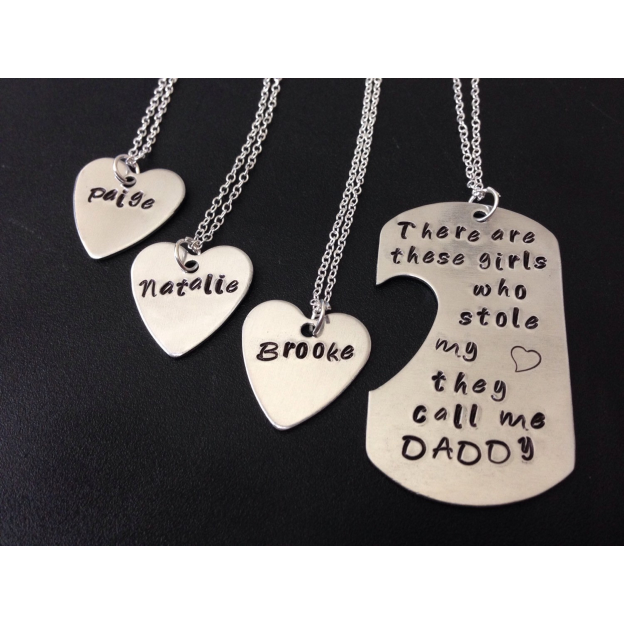 There Are These Girls Who Stole My Heart They Call Me Daddy Fathers Day-personalized Handstamped Daddy Daughter Necklace Fathers Day Tag Only, Tag As A Keychain