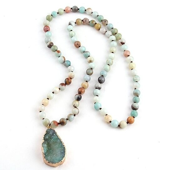 natural amazonite bead necklace