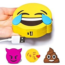 Emoji Funny Portable 2200mAh Battery Chargers Power Bank - Poop, Devil, Blowing Kiss, Tears