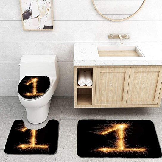 Buy 1 Number Drawn Bengali Sparkles 3 Piece Bathroom Rugs Set Bath Rug Contour Mat And Toilet Lid Cover By Andrea Marcias On Dot Bo