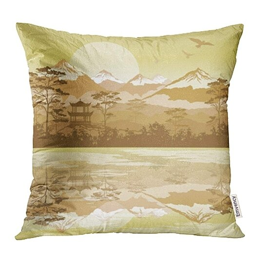 Buy Beautiful Japanese Landscape With Forest Lake And Mountains Bird Cloudy Ecology Hill Pillow Case Pillow Cover 18x18 Inch By Andrea Marcias On Dot Bo