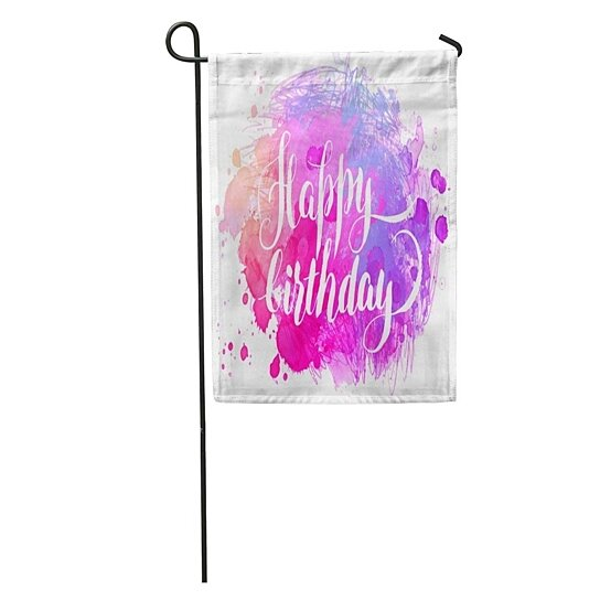 Buy Blue Girly Hand Watercolor Happy Birthday Paint Anniversary Announcement Artistic Garden Flag Decorative Flag House Banner 28x40 Inch By Andrea Marcias On Dot Bo