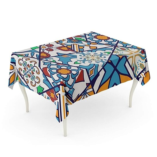 Buy Blue Mosaic Patchwork Pattern And Portuguese Tiles Azulejo Moroccan Tablecloth Table Desk Cover Home Party Decor 60x84 Inch By Andrea Marcias On Dot Bo