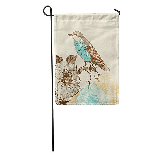 Buy Botanical Of Bird And Blooming Flowers In Vintage Leaf Pattern Garden Flag Decorative Flag House Banner 12x18 Inch By Andrea Marcias On Dot Bo