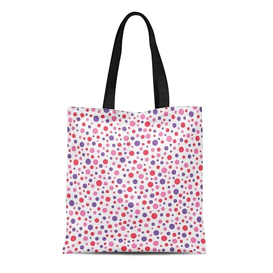 Personalized Tote Bag Orange with White Dots
