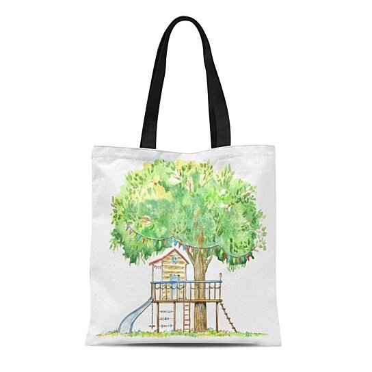 Buy Canvas Tote Bag Baby Tree House Swing Slide And Playhouse Summer Watercolor Reusable Shoulder Grocery Shopping Bags Handbag By Andrea Marcias On Dot Bo