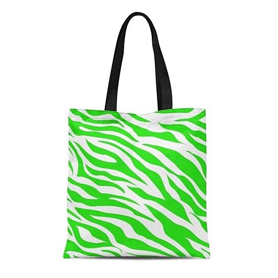 Green Zebra Tote Bag