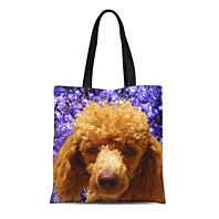 Dog Mom Large Tote Bag with Pocket Cotton Canvas Shopping Bag Poodle Mom Tote Bag Poodle Personalized Embroidered Tote Bag