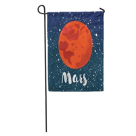 Buy Cartoon Of Mars Globe Red Planet On Dark Space Star