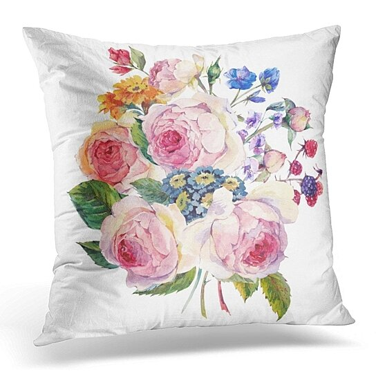 Buy Classical Vintage Floral Watercolor Bouquet Of English Roses And Wildflowers Botanical Natural On Pillow Case Pillow Cover 20x20 Inch By Andrea Marcias On Opensky